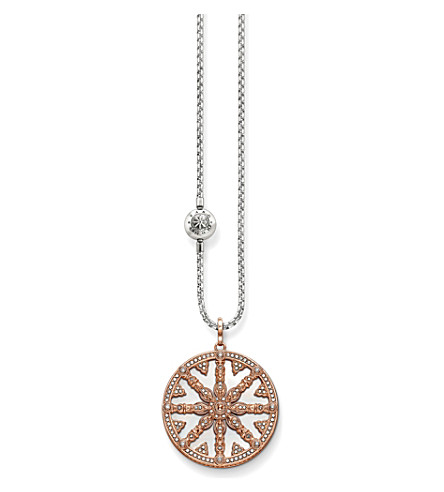 THOMAS SABO Karma beads wheel of karma 18ct rose gold-plated necklace