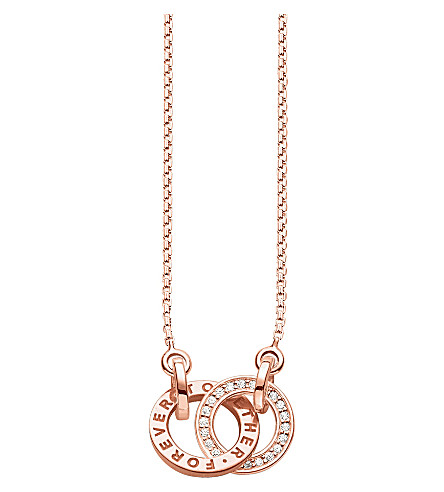 THOMAS SABO Together 18ct rose gold-plated sterling silver and crystal necklace