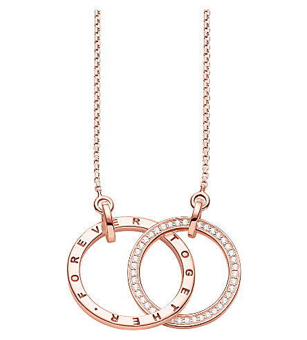 THOMAS SABO 一起18ct 玫瑰镀金纯银和水晶项链