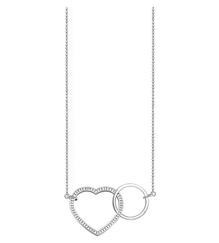 THOMAS SABO Together heart large sterling silver and crystal necklace