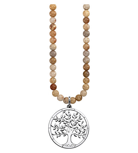 THOMAS SABO Tree of Life 18ct rose gold-plated sterling silver and jasper necklace
