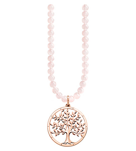 THOMAS SABO Tree of Life sterling silver and rose quartz necklace