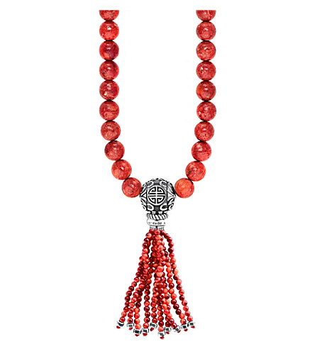 THOMAS SABO Rebel at Heart Mala Power sterling silver and coral bead necklace