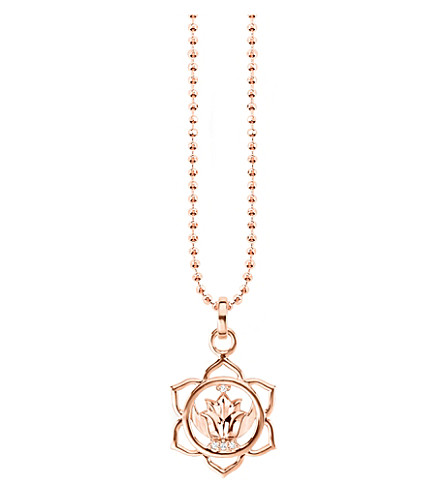 THOMAS SABO Svādhisthāna 18ct rose gold-plated sterling silver and crystal necklace
