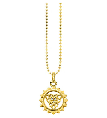 THOMAS SABO Viśuddha 18ct gold-plated sterling silver and crystal necklace