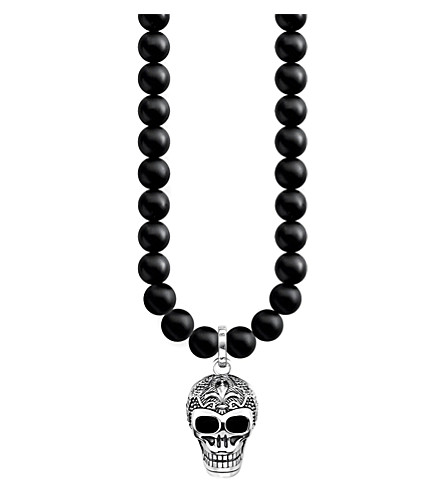 THOMAS SABO Rebel at Heart skull sterling silver and obsidian necklace