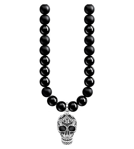 THOMAS SABO Rebel at Heart skull sterling silver, obsidian and crystal necklace