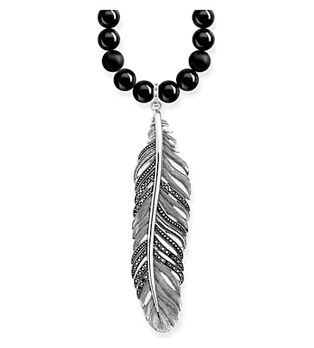 THOMAS SABO Rebel at Heart feather sterling silver obsidian and crystal necklace