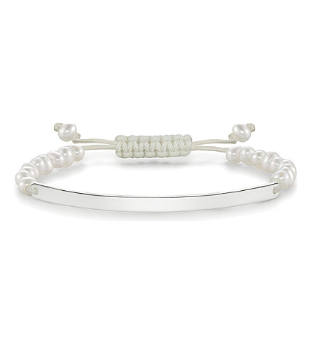 THOMAS SABO Love bridge sterling silver and pearl tie bracelet