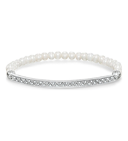 THOMAS SABO Love bridge pearl pavé zirconia sterling silver bridge bracelet