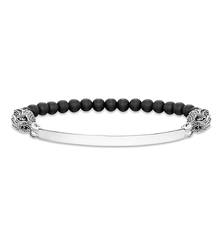 THOMAS SABO Love bridge silver, obsidian, zirconia and onyx bracelet