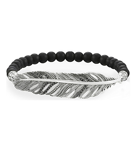 THOMAS SABO Love Bridge sterling silver, zirconia-pavé and obsidian bracelet