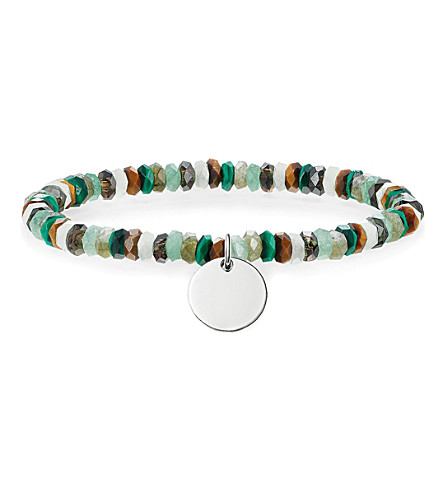 THOMAS SABO Love Bridge sterling silver, malachite, quartz and tiger's eye bracelet