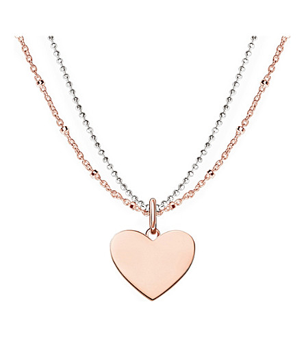 THOMAS SABO Love Bridge engravable 18ct rose gold plated heart necklace