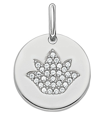 THOMAS SABO Love Bridge Lotus Flower Disc sterling silver and zirconia pavé pendant