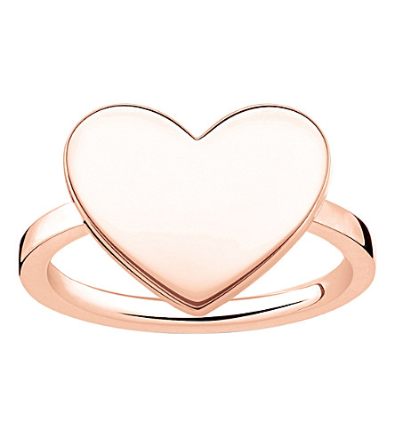 THOMAS SABO Love Bridge engraveable rose gold-plated heart ring