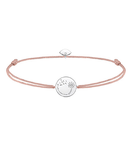 THOMAS SABO Little Secrets textile and sterling silver wishes bracelet (Pink