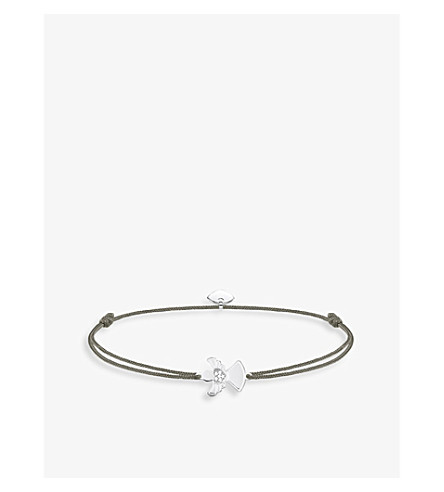 THOMAS SABO Little Secrets textile and sterling silver Guardian Angel bracelet (Grey