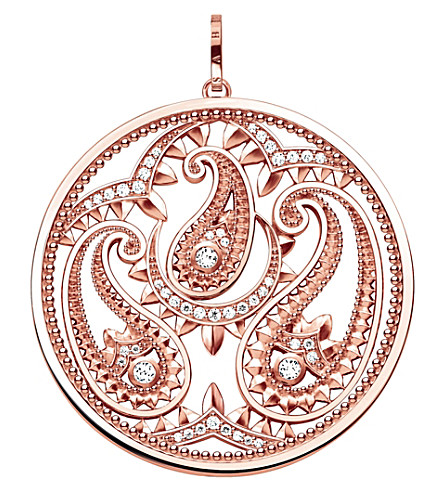 THOMAS SABO Oriental disc 18ct rose gold-plated and zirconia pendant