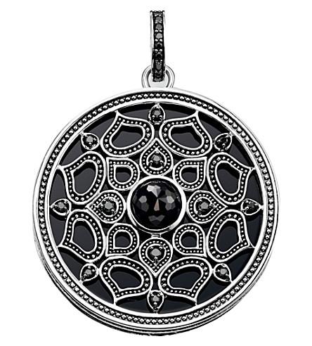 THOMAS SABO Mandala sterling silver, onyx and zirconia amulet pendant