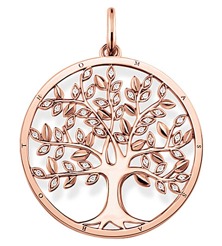 THOMAS SABO Tree of Love 18ct rose gold-plated and zirconia pendant