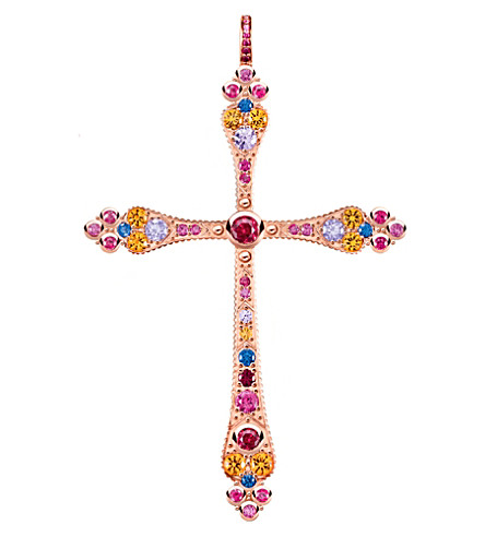 THOMAS SABO Royalty cross 18ct rose gold-plated pendant