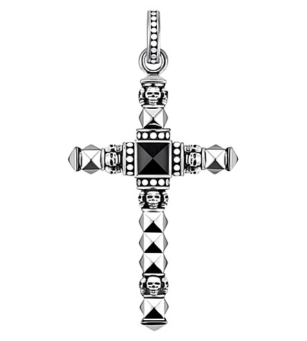 THOMAS SABO Cross skulls sterling silver and onyx pendant