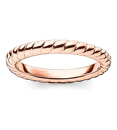 THOMAS SABO Glam & Soul 18ct rose-gold plated sterling silver twisted midi ring