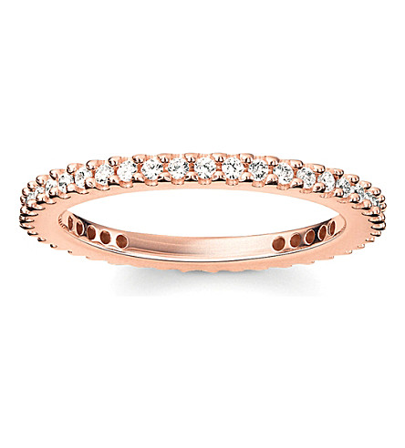 THOMAS SABO Glam & Soul 18ct rose-gold plated sterling silver and white pavé zirconia eternity ring
