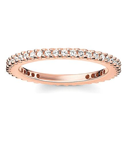 THOMAS SABO 华丽 & 灵魂18ct 玫瑰-镀金纯银和白色铺氧化锆永恒戒指