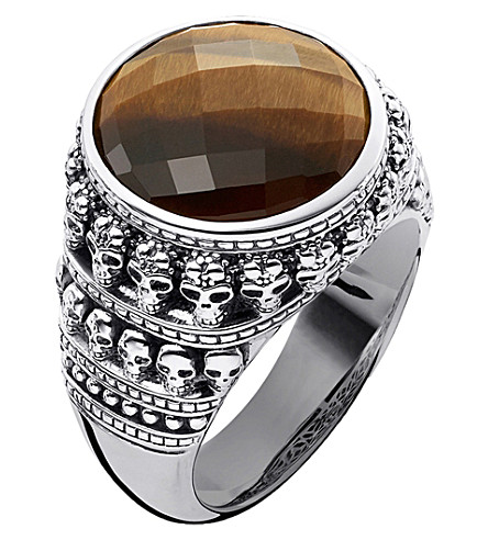 THOMAS SABO Rebel at Heart tiger's eye sterling silver ring