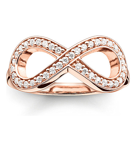 THOMAS SABO Glam & Soul rose gold-plated and zirconia-pavé infinity ring