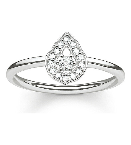 THOMAS SABO Fatima's Garden sterling silver and zirconia-pavé stacking ring