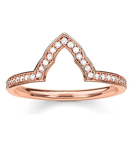THOMAS SABO Fatima's Garden rose gold-plated and zirconia-pavé temple stacking ring