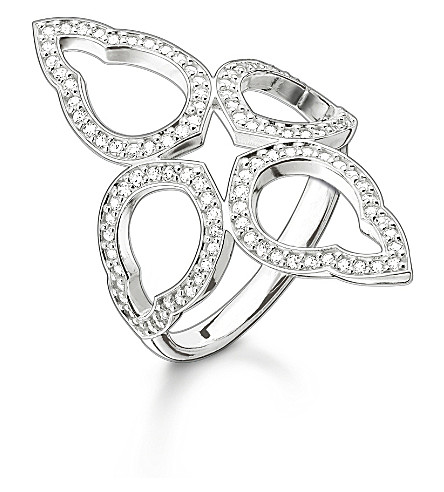 THOMAS SABO Fatima's Garden sterling silver and zirconia-pavé oriental cocktail ring