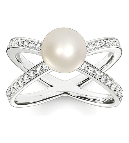 THOMAS SABO Glam & Soul Flower Bud sterling silver, pavé zirconia and pearl ring