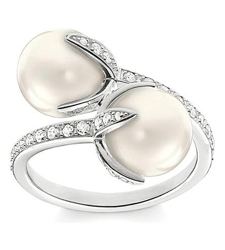 THOMAS SABO 华丽 & 灵魂扭开花纯银, 铺氧化锆和珍珠开环