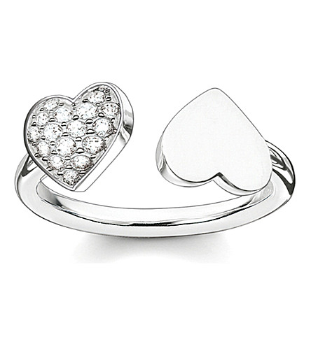 THOMAS SABO 经典纯银和铺氧化锆双心开环