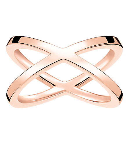 THOMAS SABO Criss-cross 18ct rose gold-plated ring