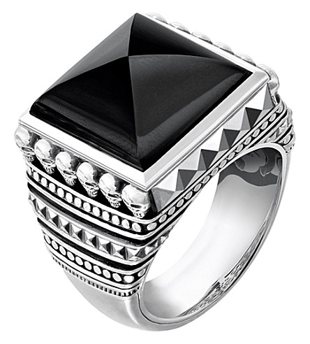 THOMAS SABO Rebel at Heart sterling silver and onyx signet ring