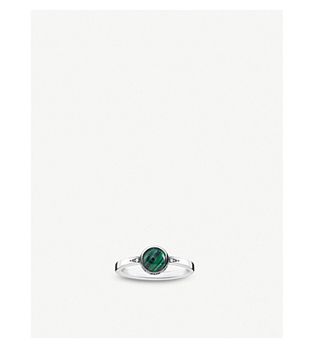 THOMAS SABO Tropical sterling silver, malachite and zirconia ring