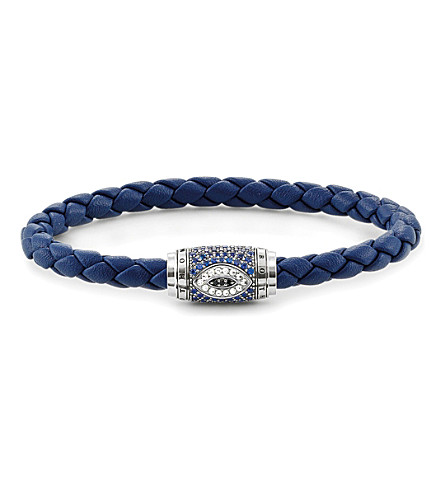 THOMAS SABO Nazar's Eye sterling silver, nappa leather and pavé zirconia unity bracelet