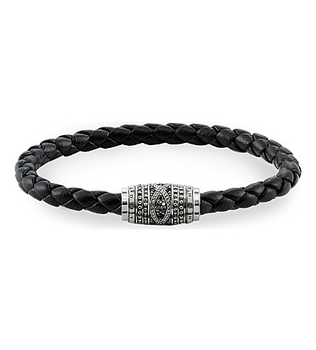 THOMAS SABO Rebel at Heart sterling silver, nappa leather and zirconia-pavé bracelet