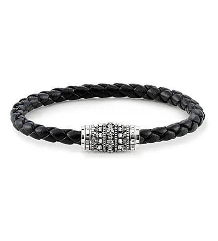 THOMAS SABO Unity plaited leather strung skulls bracelet