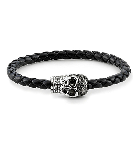 THOMAS SABO Unity plaited leather embellished skull head bracelet