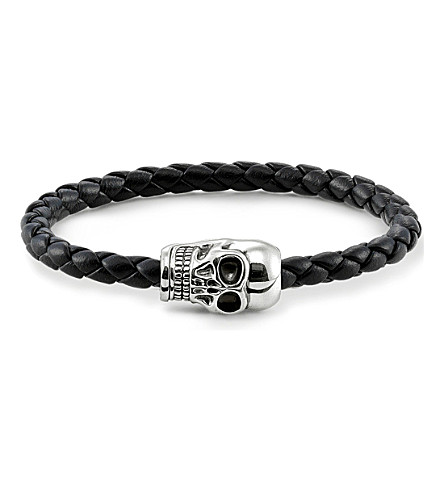 THOMAS SABO Unity plaited leather skull head bracelet