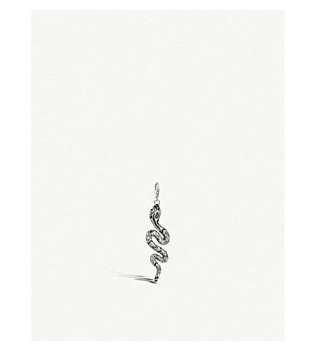 THOMAS SABO Charm Club Snake sterling silver and black zirconia charm