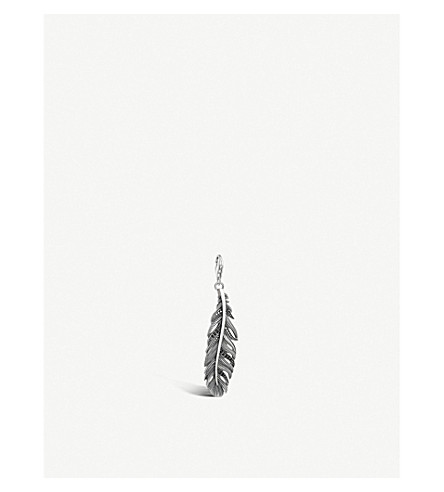 THOMAS SABO Charm Club Feather sterling silver and black zirconia charm