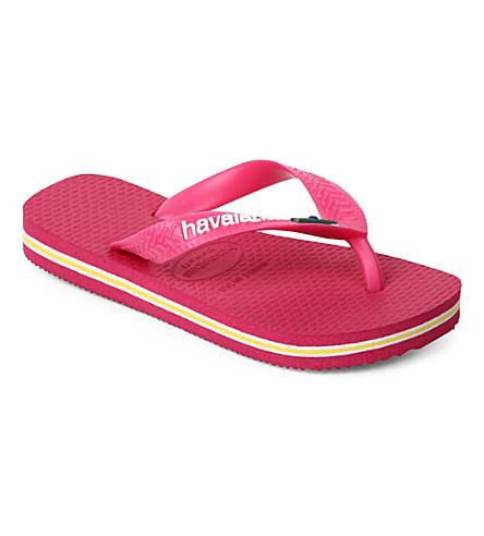 HAVAIANAS Brasil logo flip flops 6-12 years (Pink