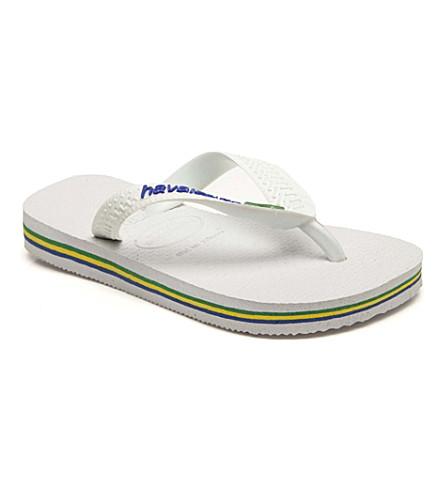 HAVAIANAS Brasil logo flip flops 6-12 years (White